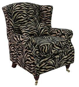 Ashley-Fireside-High-Back-Wing-Armchair-Animal-Print-Antelope-Gold-Velour-Fabric