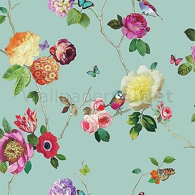 Butterfly Bird Floral Rose - Arthouse Opera Charmed Teal Multi Wallpaper 889800