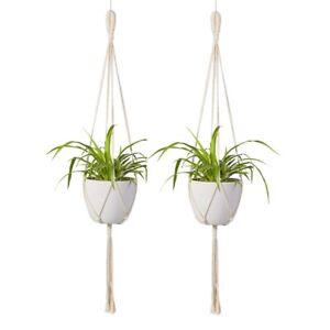 Macrame-Plant-Hanger-2Pcs-Indoor-Outdoor-Wall-Hanging-Planter-Basket-Cott-C2W2