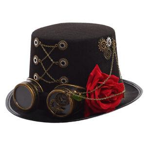 1pc Unisex Steampunk Gear Red Floral Black Top Hat Vintage Couple/'s Hat Party