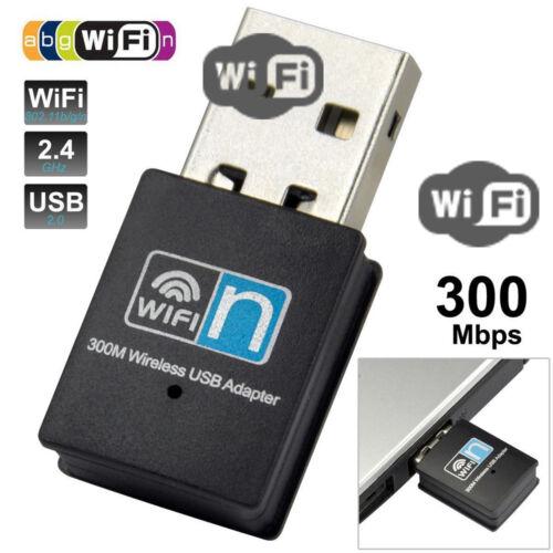 Wireless Mini Smart WiFi Card Adapter USB WPS 300Mbps 2.4GHz Receiver 802.11 LAN