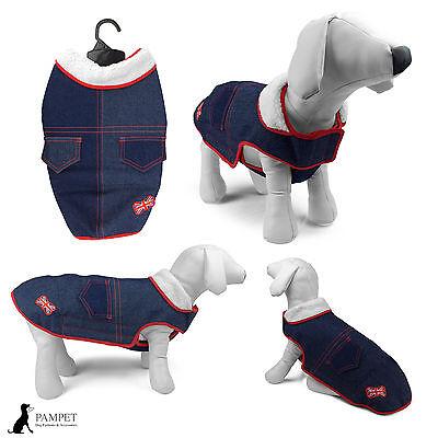 Dog Coat - PAMPET DENIM DOG COAT With Faux Fur Collar & Union Jack -FREE UK P&P!