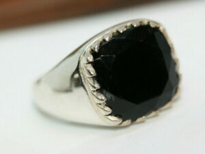 New-Cast-Men-039-s-10-49-ctw-Square-Black-Onyx-925-Sterling-Silver-Gents-Ring-Sz-11
