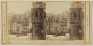 Norimberga Das St.Sebaldus-Haus Germania Foto Stereo Vintage Albumina c1865