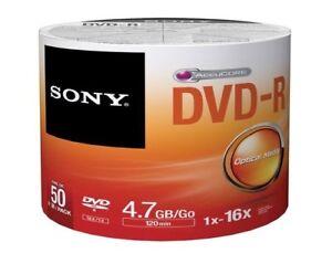 SONY DVD-R 4.7GB 16X DVD-R Blank Media Disc50 Pack - Free Shipping