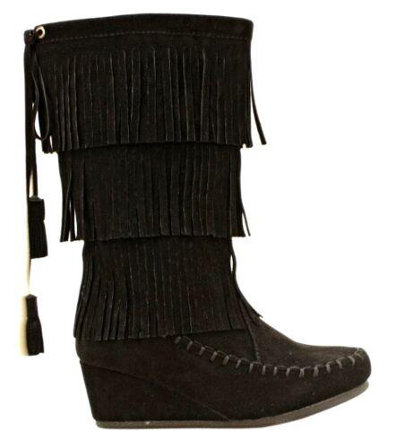 Link Peggy-93K Kid/'s round toe moccasin knee high hippie fringe tassel suede