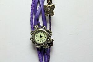 NEW-7-to-7-1-2-034-Multi-strand-butterfly-beaded-purple-bracelet-watch-with-snaps