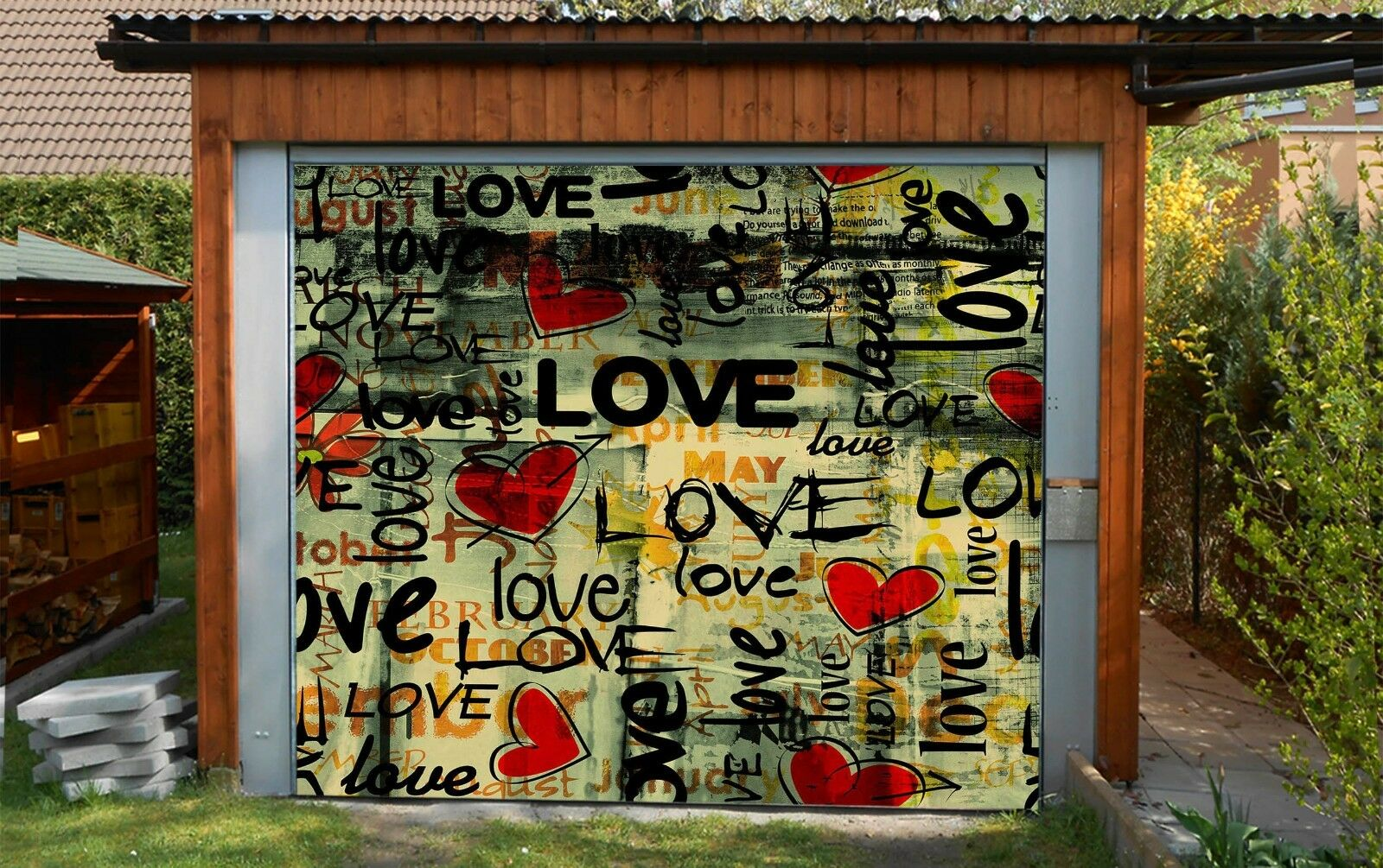 3D Love Story 42 Garage Door Murals Wall Print Decal Wall AJ WALLPAPER AU Lemon