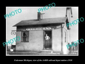 OLD-LARGE-HISTORIC-PHOTO-OF-FEDERMAN-MICHIGAN-THE-RAILROAD-DEPOT-STATION-c1910
