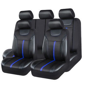 Universal-Car-Seat-Covers-Leather-Mesh-Black-Blue-Waterproof-50-50-40-60-For-SUV