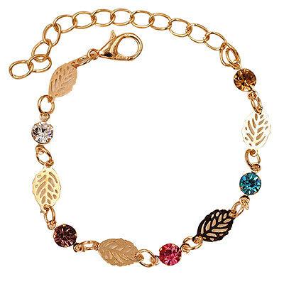 1Pcs Femme Rétro Bracelet Feuille Chaîne Esthétique Strass Bijoux Simple Cadeau