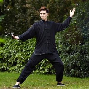 Unisex-Chinesisch-Kleidung-Kung-Fu-Tai-Chi-Anzug-Set-Plain-Black-Long-seleeve-Geschenk