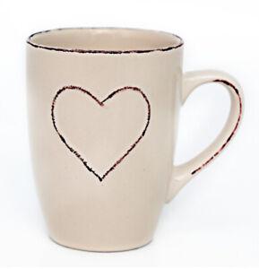 SET-OF-6-Cream-Shabby-Chic-Mugs-with-Heart-detail-Rustic-Country-Chic-Coffee-Mug