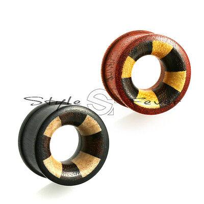6 - 20 mm Holz Flesh Tunnel Tube Ohr Plug 3 Farbig X7QW
