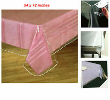 """Clear Vinyl Tablecloth Heavy Duty Plastic Table Protector Cover Spills 54"""" x 72"""""""