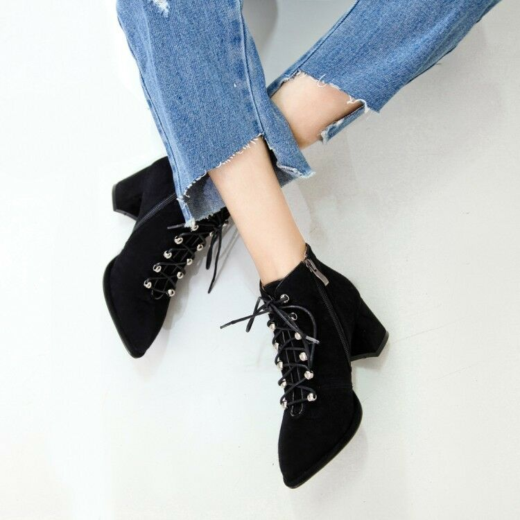 Womens Lace Up Up Up Block Mid Heels Side Zip Ankle Boots Pointed Toe High Top shoes a25eab