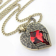 Red Heart Necklace - Pendant Chain -  Fairy / Angel Wings Ruby Style Jewellery