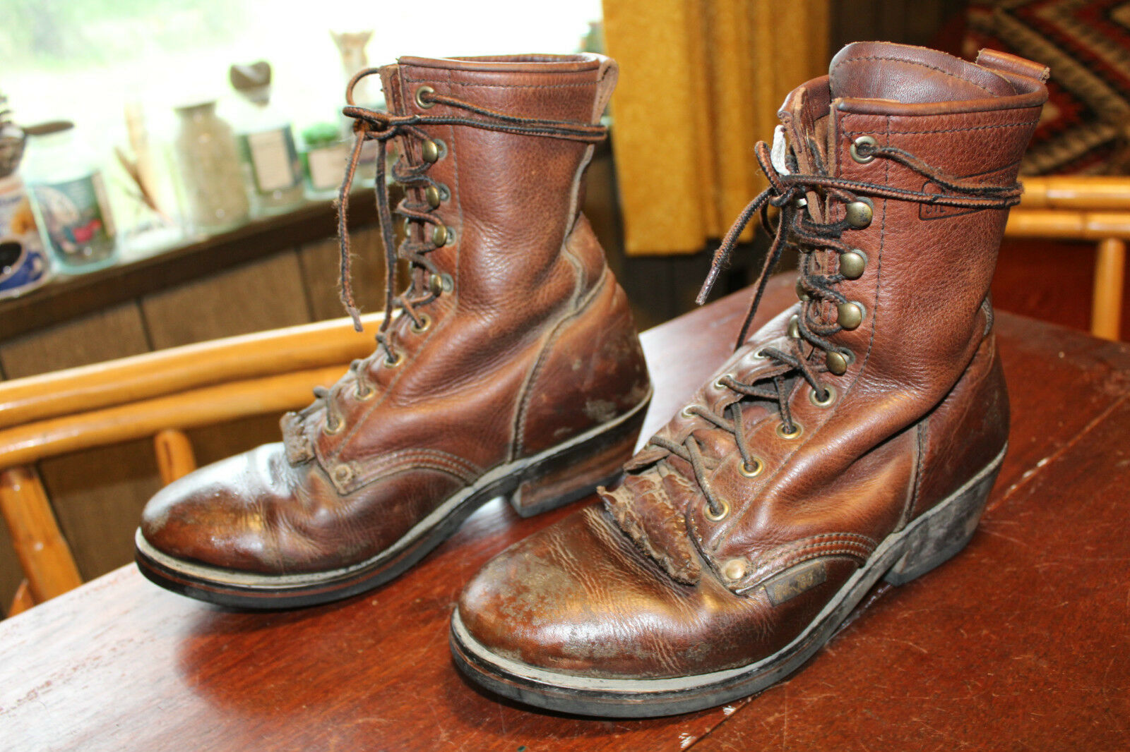DISTRESSED BROWN LEATHER Ladies ROPER PACKER BOOTS 8 M