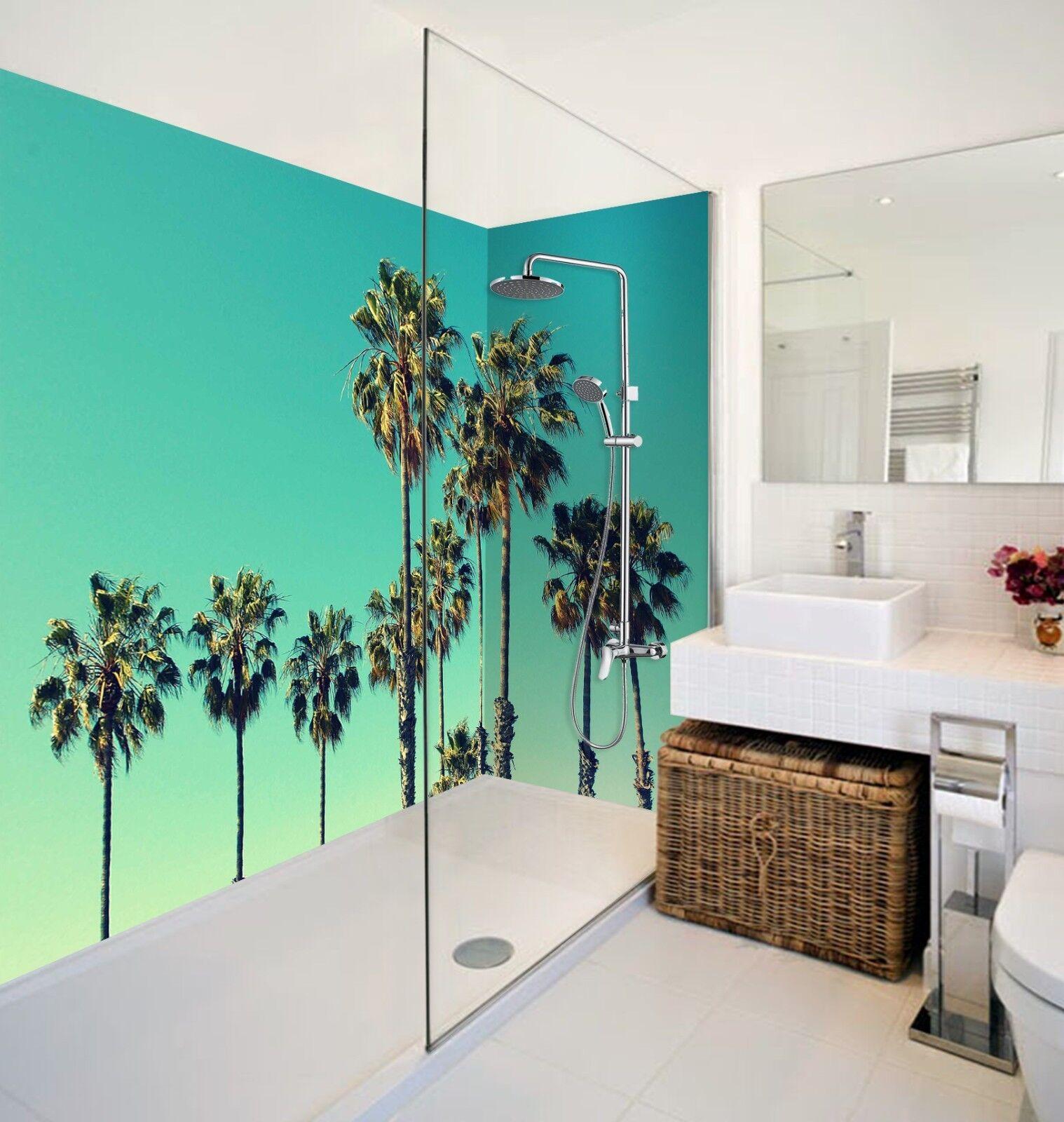 3D Grün Palm Trees Sky WallPaper Bathroom Print Decal Wall Deco AJ WALLPAPER UK