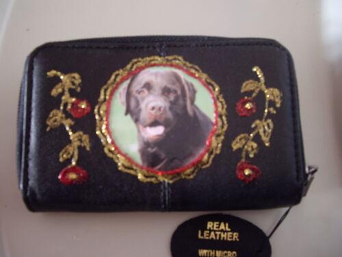 Neuf Noir Cuir Souple Chocolat Labrador Photo Sac à Main//Portefeuille