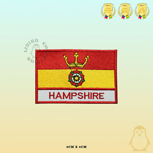 HAMPSHIRE-County-Flag-With-Name-Embroidered-Iron-On-Sew-On-Patch-Badge
