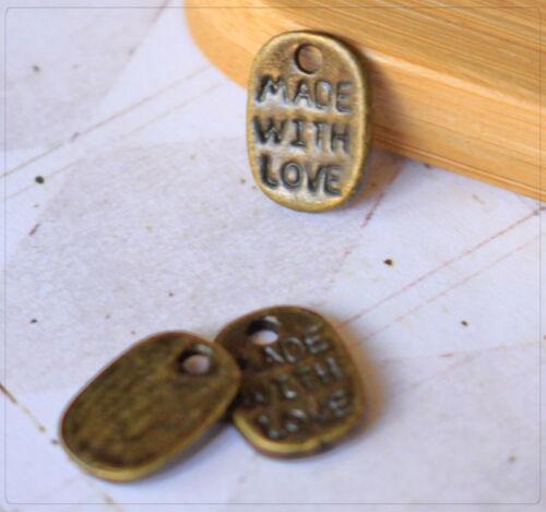 "20x Metall Anhänger Charm Plättchen /""Made with Love/"" Schmuck DIY Basteln 11x7mm"