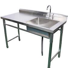 Stainless Steel Commercial Kitchen Sink Restaurant Sink Drain Board Single Bowl