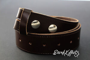 Cinturón de cuero marrón oscuro Real 38 mm Snap en Hebilla de Cinturón de Reemplazo sin