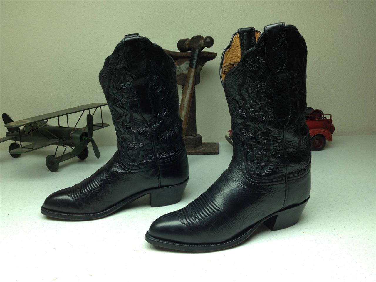 LUCCHESE schwarz LEATHER MADE IN USA COUNTRY WESTERN DANCE Stiefel Größe 7 C