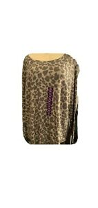 Peace-amp-Pearls-Women-039-s-Waffle-Knit-Relaxed-Fit-Tunic-Leopard-amp-Camo