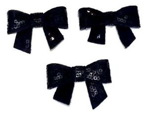 Image Is Loading 3 Pieces Black 2 034 Sequin Bow Diy