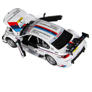BMW-M3-DTM-1-32-Scale-Metal-Diecast-Model-Car-Toys-Sound-amp-Light-Pullback-White