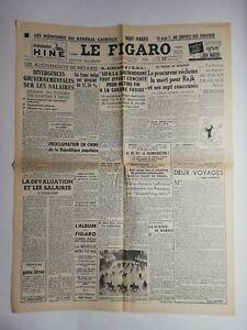 N822 La Une Du Journal Le Figaro 22 septembre 1949 divergences gouvernementale