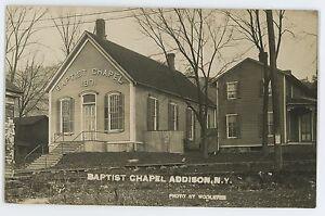 RPPC-Baptist-Chapel-ADDISON-NY-Steuben-County-New-York-Real-Photo-Postcard