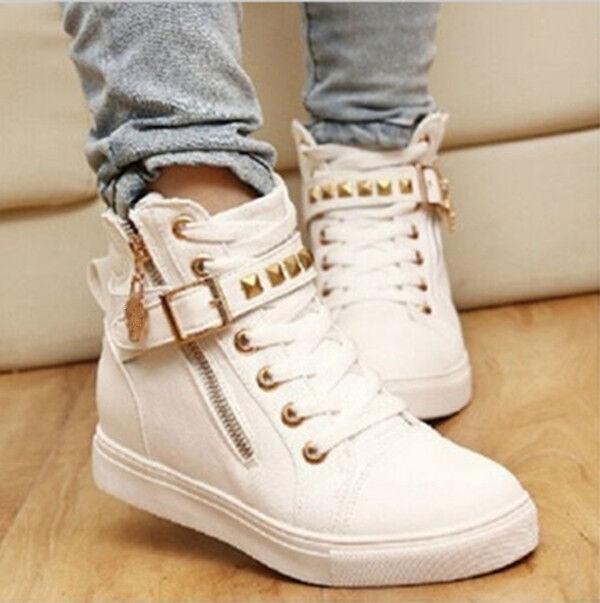 2016 Hot Women Casual Sneakers Rivets Lace Up Buckle Zipper Walking Canvas Shoes
