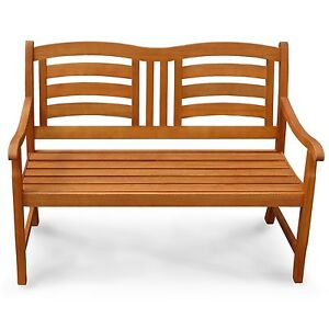 gartenbank 2 sitzer aus holz mit geschwungener lehne ebay. Black Bedroom Furniture Sets. Home Design Ideas