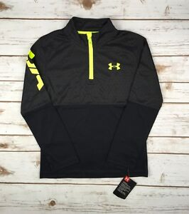 Boys-Under-Armour-1-4-Zip-Black-Yellow-UA-Printed-LS-Pullover-4-5-6-7-Youth