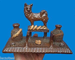 rare-encrier-de-potier-au-chien-en-terre-vernissee-art-populaire