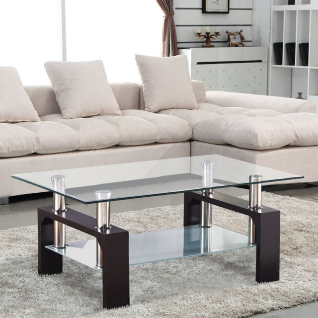 Modern Chrome Gl Coffee Table W Shelf Rectangle Living Room Furniture Walnut