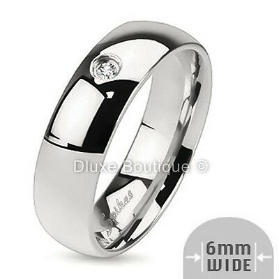 Men's 6mm Wide Stainless Steel Cubic Zirconia Wedding Ring Band Size 7-13