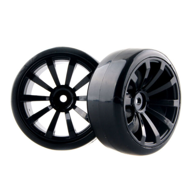 4pcs Hard Tires & Black Wheel Rim Fit HSP HPI Tamiya Kyosho 1:10 RC Drift Car
