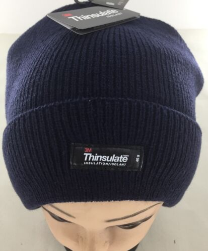 3M Thinsulate Acrylic Beanie Navy Rib Knit Warm Thermal Winter Hat Cap Ski Work