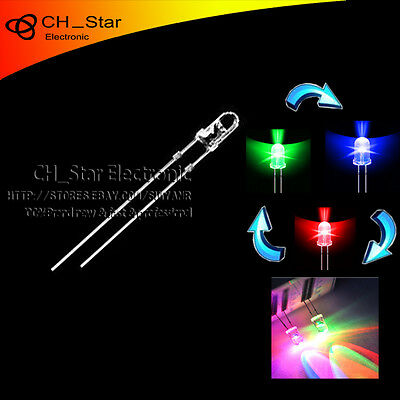 500pcs 3mm Water Clear 2Pin Red Blue Light Double Alternate Flashing LED Diodes