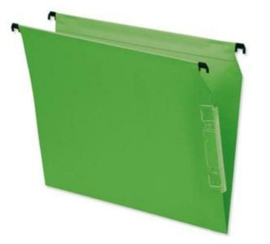 25 x BANTEX LATERAL KRAFT 220gsm W25cm A4 SUSPENSION FILE GREEN 100330951