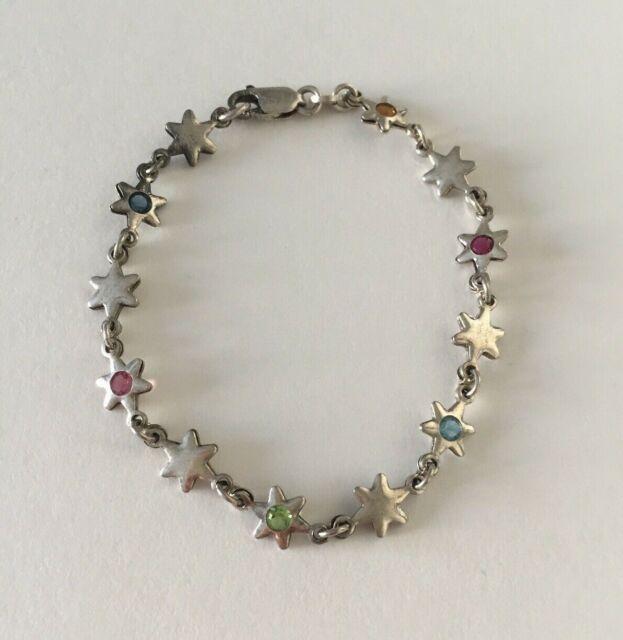 Vintage 925 Italy Sterling Silver Star Bracelet - 7.5