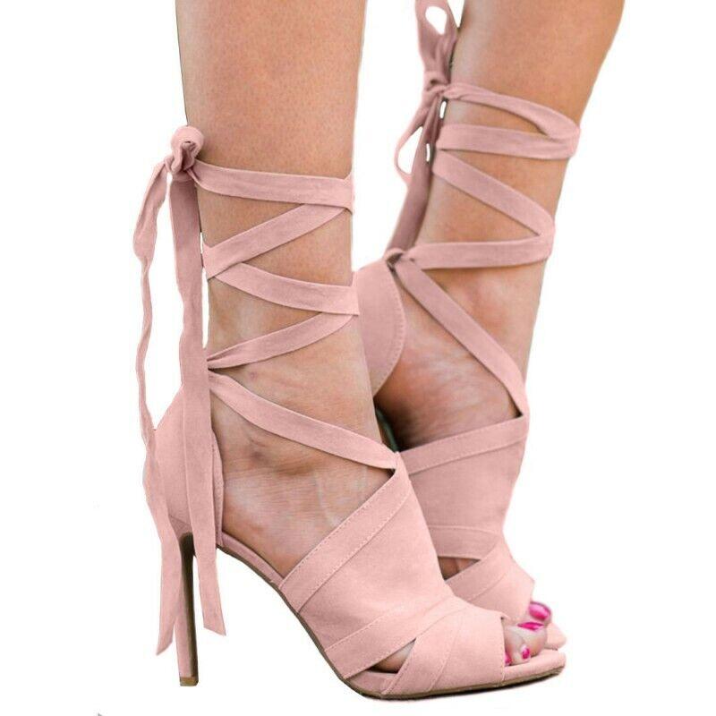 Zapatos De Fiesta Sexy Nuevo Para mujeres Con Cordones Tacones de aguja Sandalias Bombas Cortar vendaje Romano