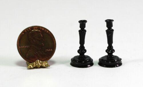 Dollhouse Miniature Set of Lovely Black Candlesticks