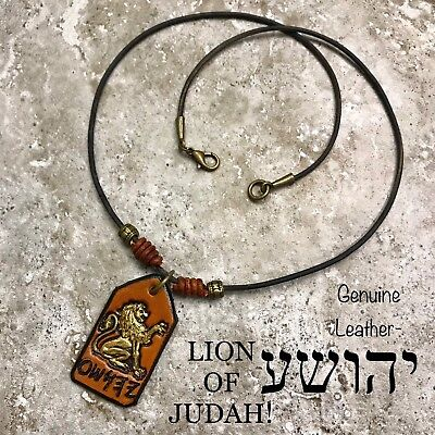 YAHUSHA Necklace Lion Of JUDAH Paleo Hebrew Leather Yeshua Gold Lion Messianic