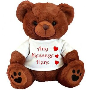 """PERSONALISED BROWN TEDDY BEAR 25CM/10"""" SITTING VALENTINES DAY FLOWER GIRL GIFTS"""