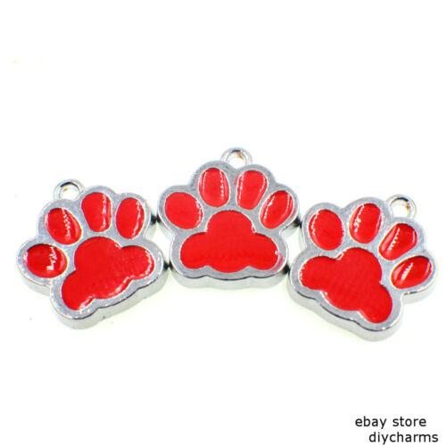 Colorful Enamel Dog Paw Print  Dangle Hang Charms For Bracelet//Keyring//Necklace